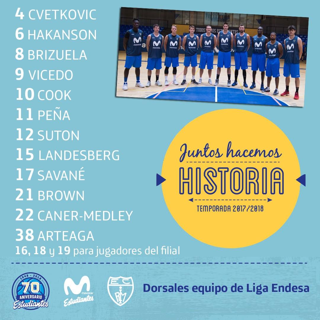 La plantilla de Movistar Estudiantes ya ha elegido sus números para la Liga Endesa