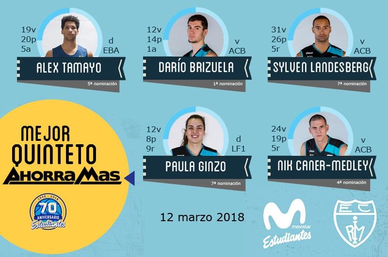 14º Quinteto Ahorramás: Tamayo, Brizuela, Landesberg, Ginzo y Caner-Medley