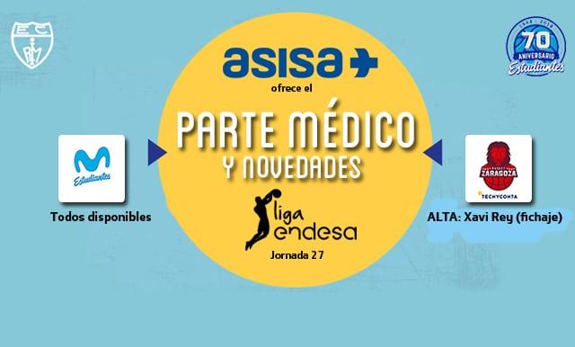 Asisa ofrece el parte médico y novedades del Movistar Estudiantes- Tecnyconta Zaragoza