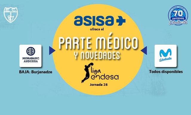 Asisa ofrece el parte médico y novedades del  Morabanc Andorra- Movistar Estudiantes