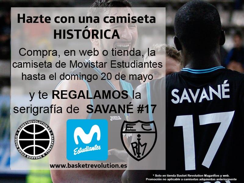 Te regalamos la serigrafía del nombre y número de Savané en tu camiseta de Movistar Estudiantes ¡Hazte con una camiseta histórica!
