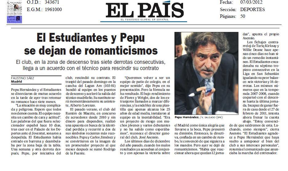 Revista Prensa Miércoles Especial Salida Pepu Hernández