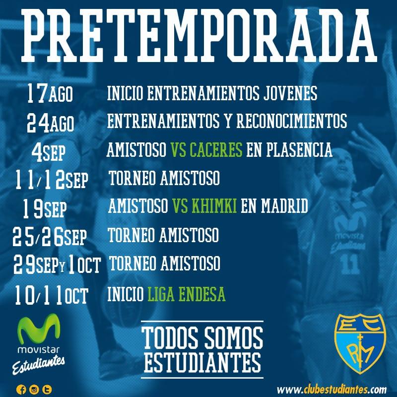 El 17 de agosto arranca la pretemporada del nuevo Movistar Estudiantes. Habrá al menos 8 partidos amistosos contra equipos de Liga Endesa, Oro y Euroliga