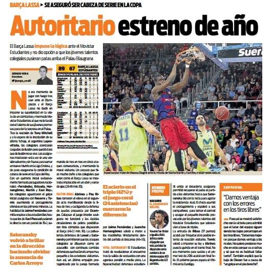 El Kiosko: el F.C Barcelona Lassa vs Movistar Estudiantes, en prensa
