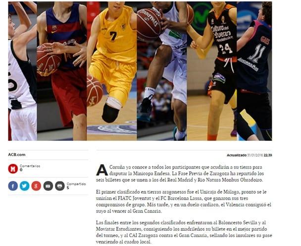 El éxito del Infantil A en la fase previa de la Minicopa Endesa, en la prensa