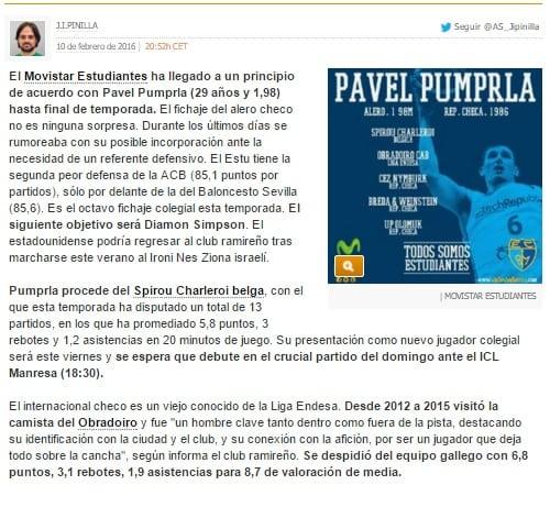 El fichaje de Pavel Pumprla, en los medios