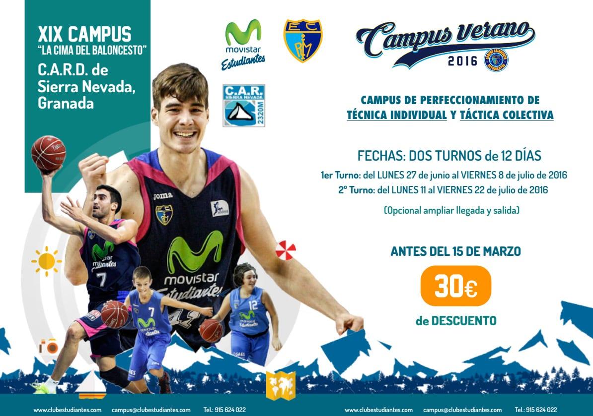 """Últimas 50 plazas para el 1º turno del XIX Campus """"La cima del baloncesto""""."""