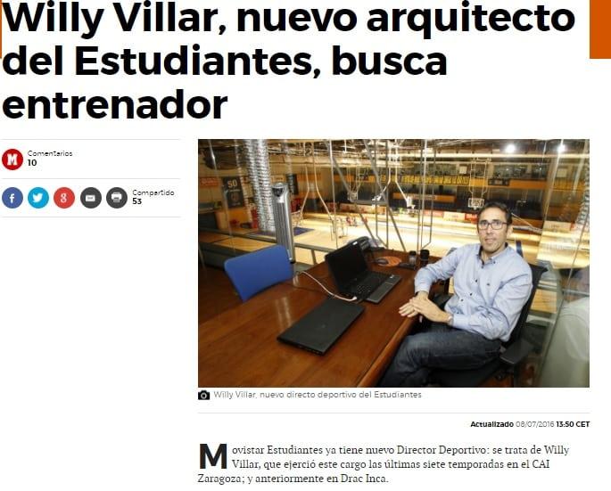 La llegada de Willy Villar, en los medios