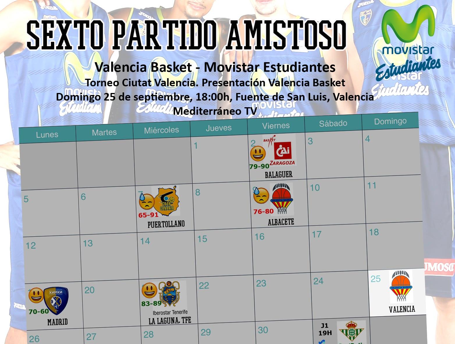 Movistar Estudiantes no quiere ser invitado de piedra en la presentación de Valencia Basket (domingo 25, 17:40h, TV Mediterráneo)