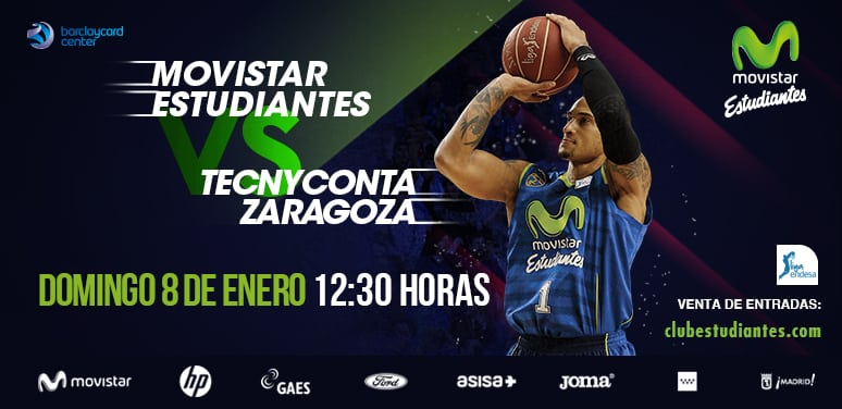 Desde 10 euros y con 30% descuento para abonados el primer partido de 2017: Movistar Estudiantes- Tecnyconta Zaragoza (domingo 8, 12:30h)