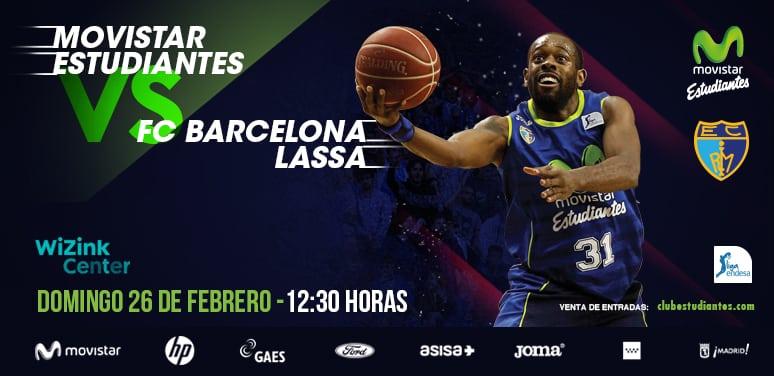 Movistar Estudiantes- Barça Lassa. Desde 25 euros al completarse los sectores de 10, 15 y 20.  20% descuento abonados