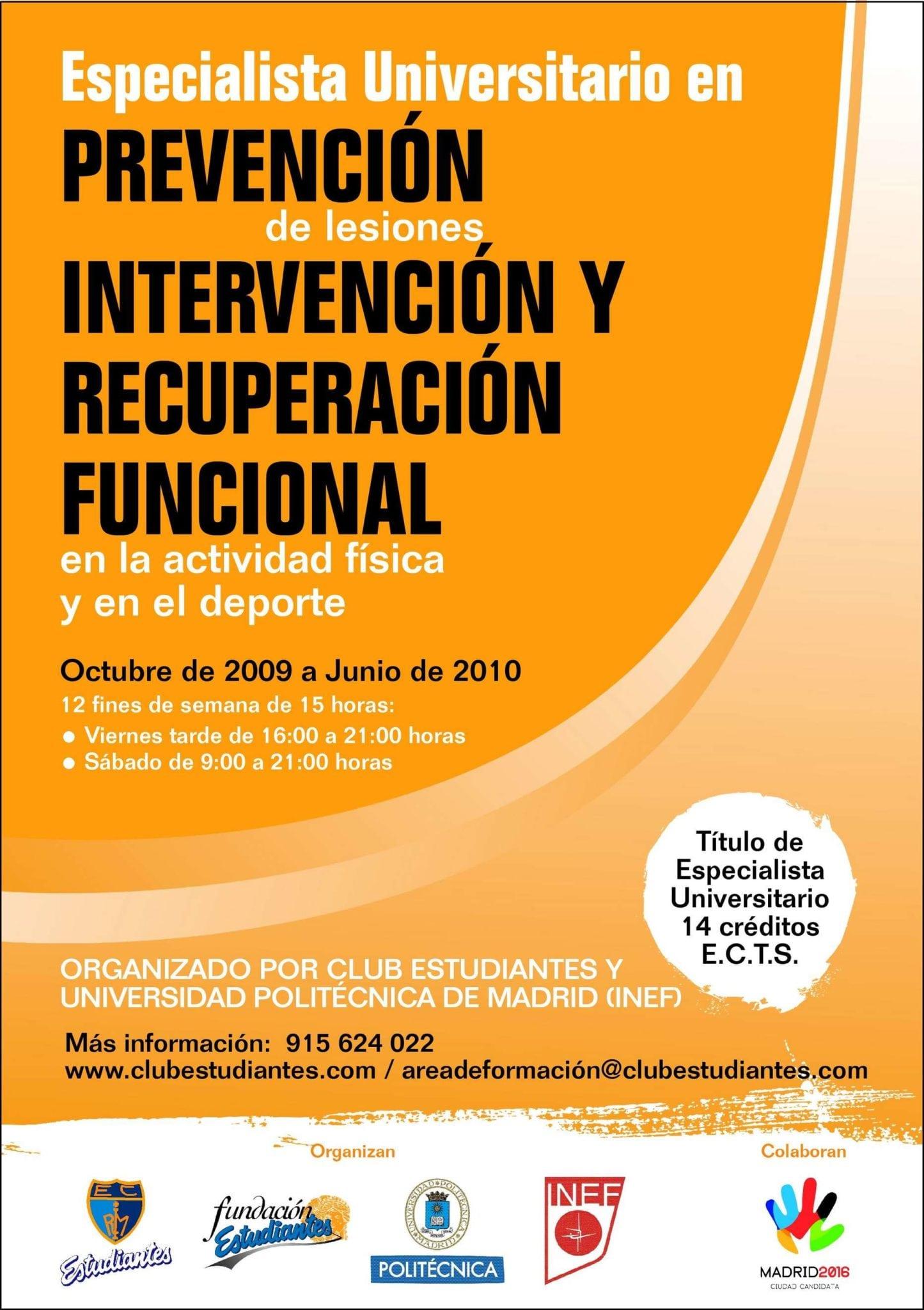 Empiezan las clases del Título de Especialista Universitario en prevención de lesiones