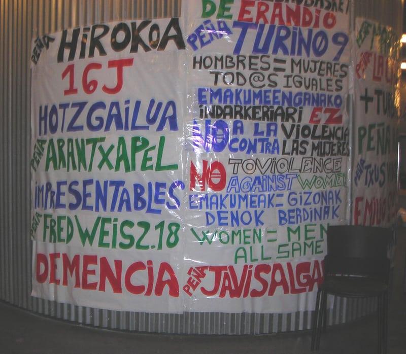 Las peñas de Asefa Estu y Bizkaia BB, hermanadas contra la violencia de género