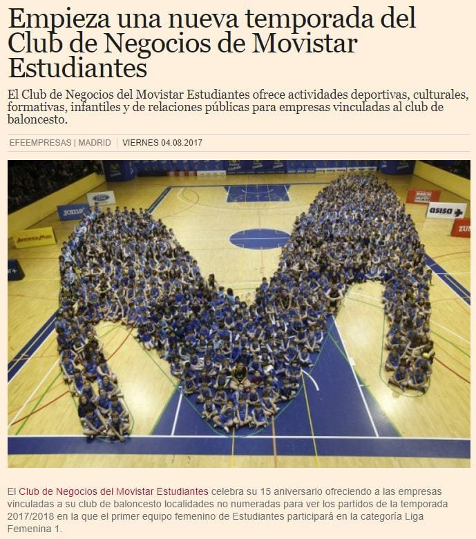 La temporada del Club de Negocios de Movistar Estudiantes, en EFE