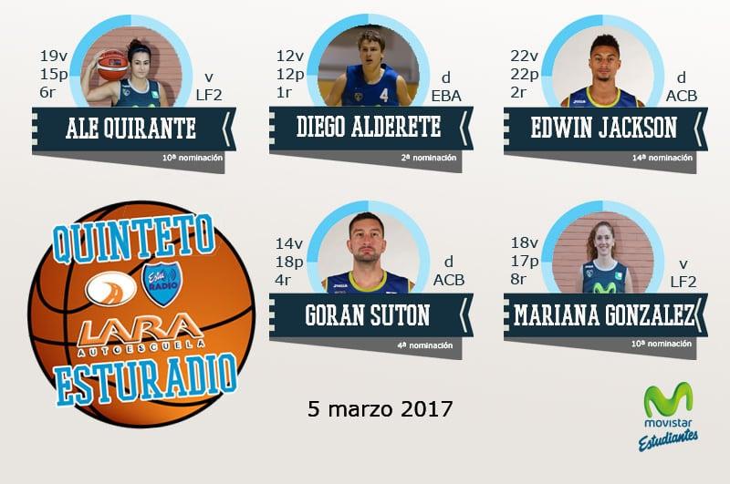 17º Quinteto EstuRadio Autoescuela Lara: Ale Quirante, Diego Alderete, Edwin Jackson, Goran Suton y Mariana González