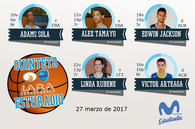 20º Quinteto EstuRadio Autoescuela Lara: Adams Sola, Alex Tamayo, Edwin Jackson, Linda Rubene y Víctor Arteaga