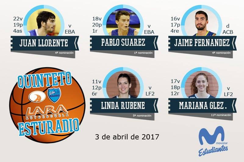 21º Quinteto EstuRadio Autoescuela Lara: Juan Llorente, Pablo Suárez, Jaime Fernández, Linda Rubene y Mariana González