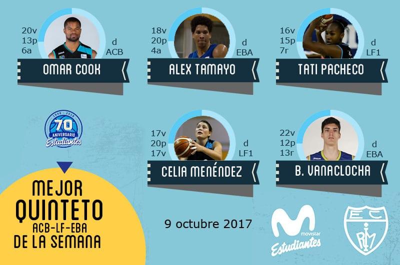 Primer Quinteto de la Semana: Omar Cook, Álex Tamayo, Tatiane Pacheco, Celia Menéndez y Bernat Vanaclocha