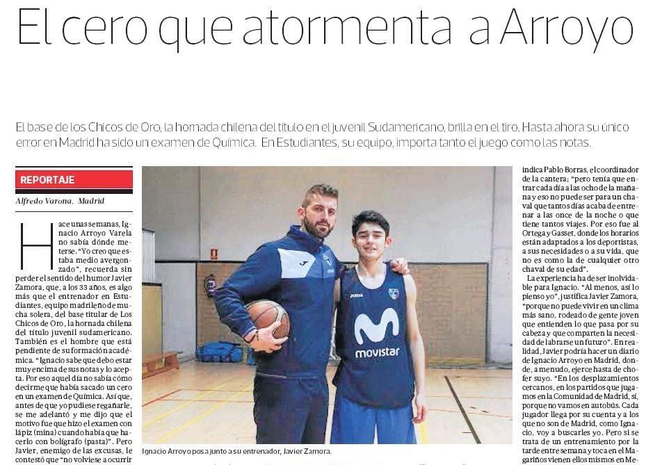 Las actuaciones del junior Ignacio Arroyo con Movistar Estudiantes, muy seguidas en Chile