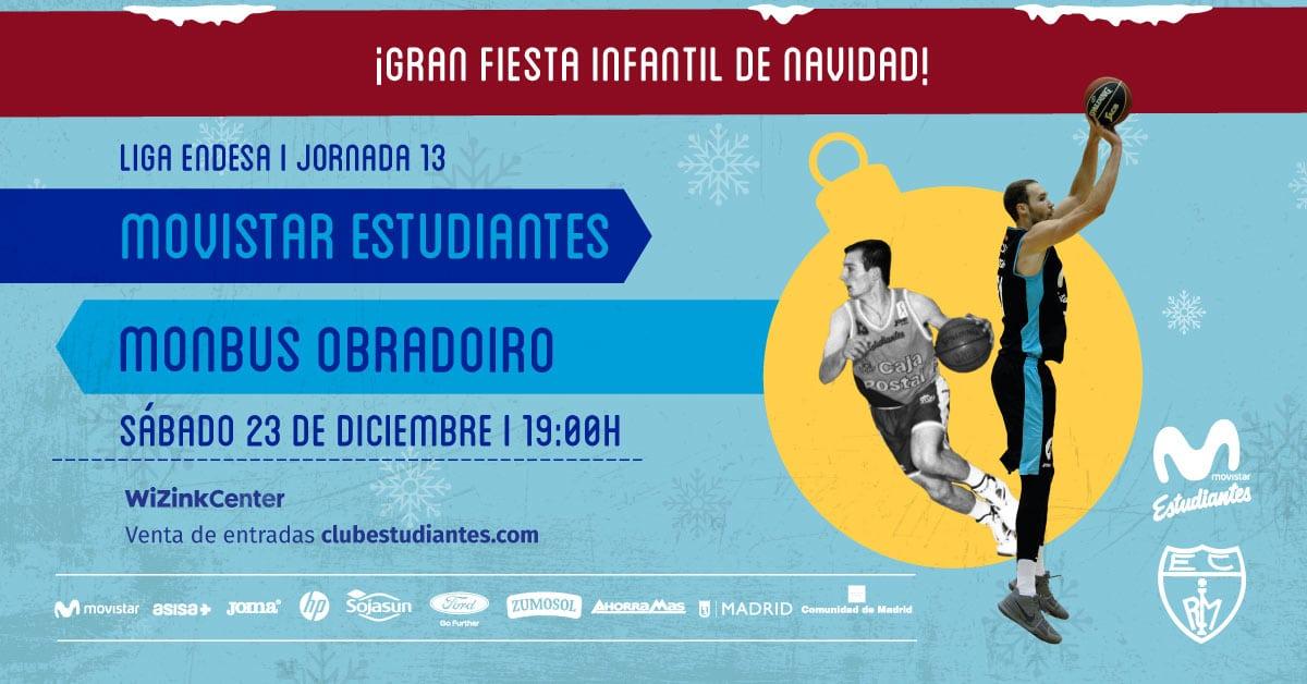 Fiesta de navidad en el Movistar Estudiantes – Monbus Obradoiro del sábado 23