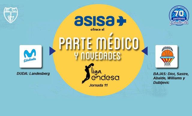 Asisa ofrece el parte médico del Movistar Estudiantes- Valencia Basket