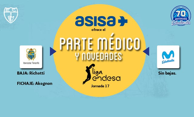 Asisa ofrece el parte médico y novedades del Iberostar Tenerife – Movistar Estudiantes