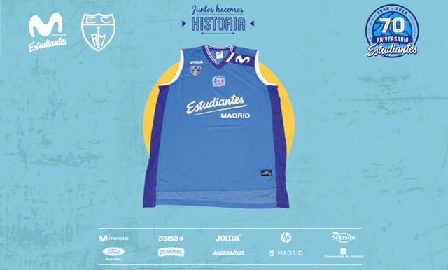 Joma presenta la camiseta de los 70 años de Movistar Estudiantes: azul, sin publicidad, y con pantalón blanco