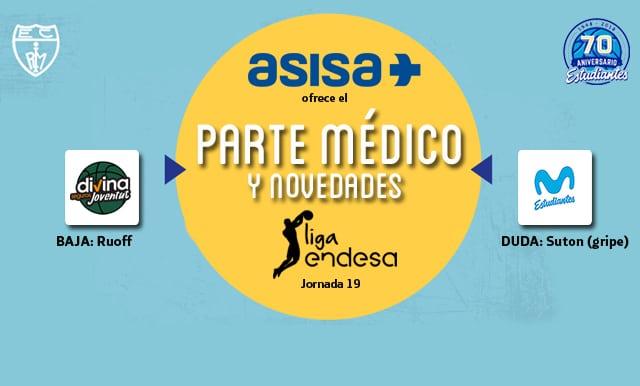 Asisa ofrece el parte médico y novedades del Divina Joventut- Movistar Estudiantes
