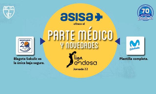 Asisa ofrece el parte médico y novedades del partido Montakit Fuenlabrada – Movistar Estudiantes