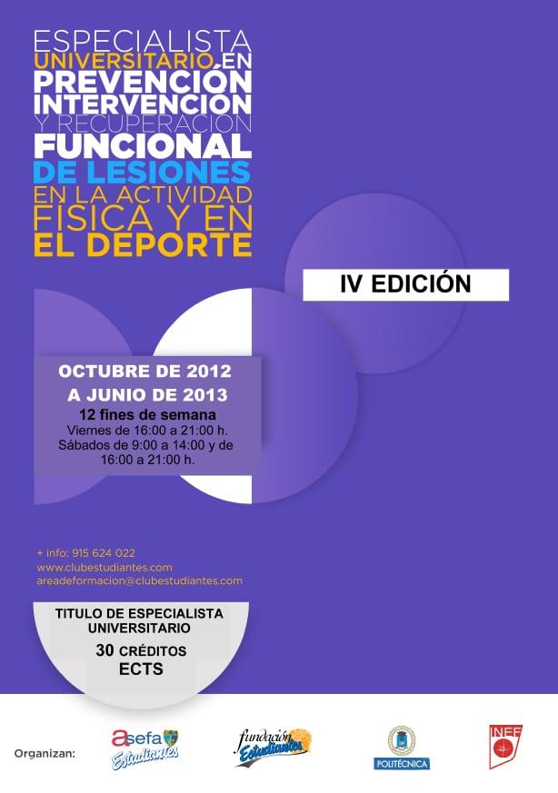 La IV Edición del Curso Lesiones empieza el 26 de octubre, últimas plazas