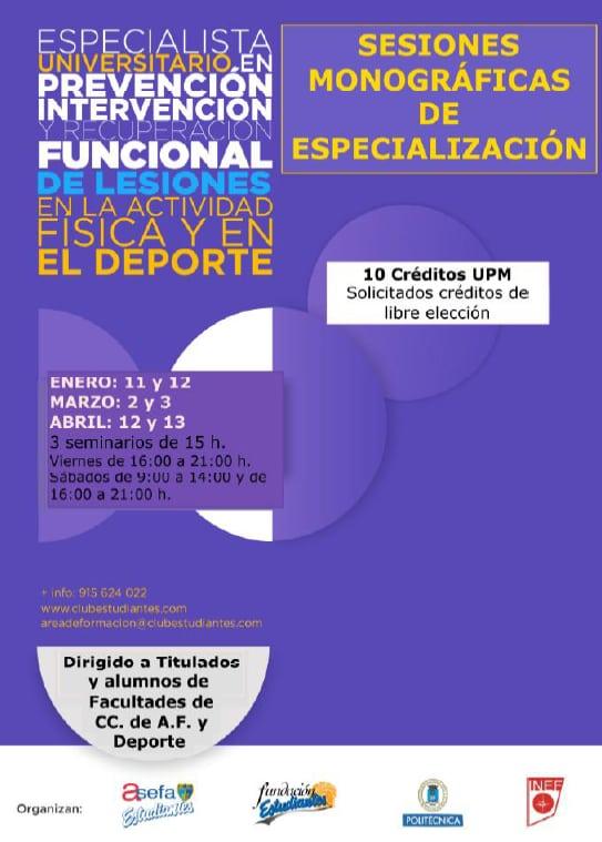 Sesiones monográficas de especialización del curso universitario en lesiones