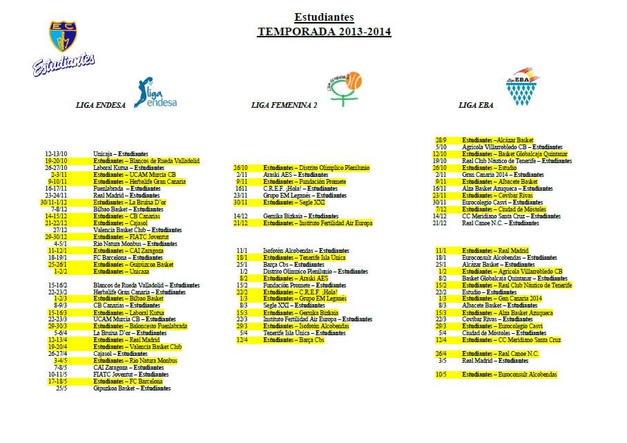 Descarga el calendario de Estudiantes en Liga Endesa, LF2 y EBA