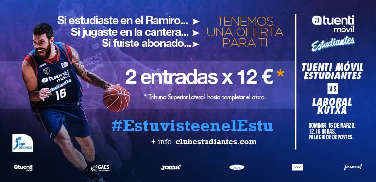 Si Estuviste en el Estu (cantera, Ramiro, abonado…) tenemos una oferta para ti: 2×12 euros vs Laboral Kutxa