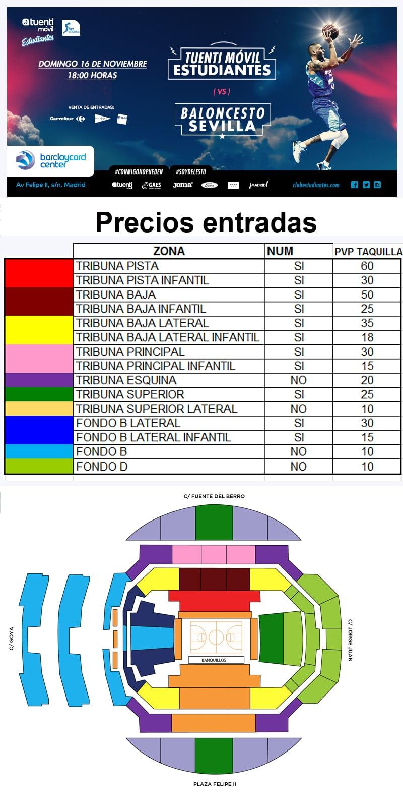 Entradas Tuenti Móvil Estudiantes -Baloncesto Sevilla. Domingo 16 de noviembre, 18:00h