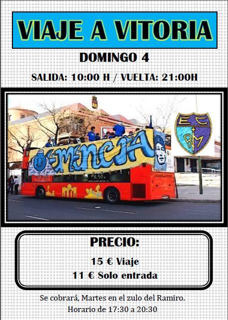Viaje a Vitoria con la Demencia: 15 euros bus + entrada, 11 euros sólo entrada. Se cobra martes 30.