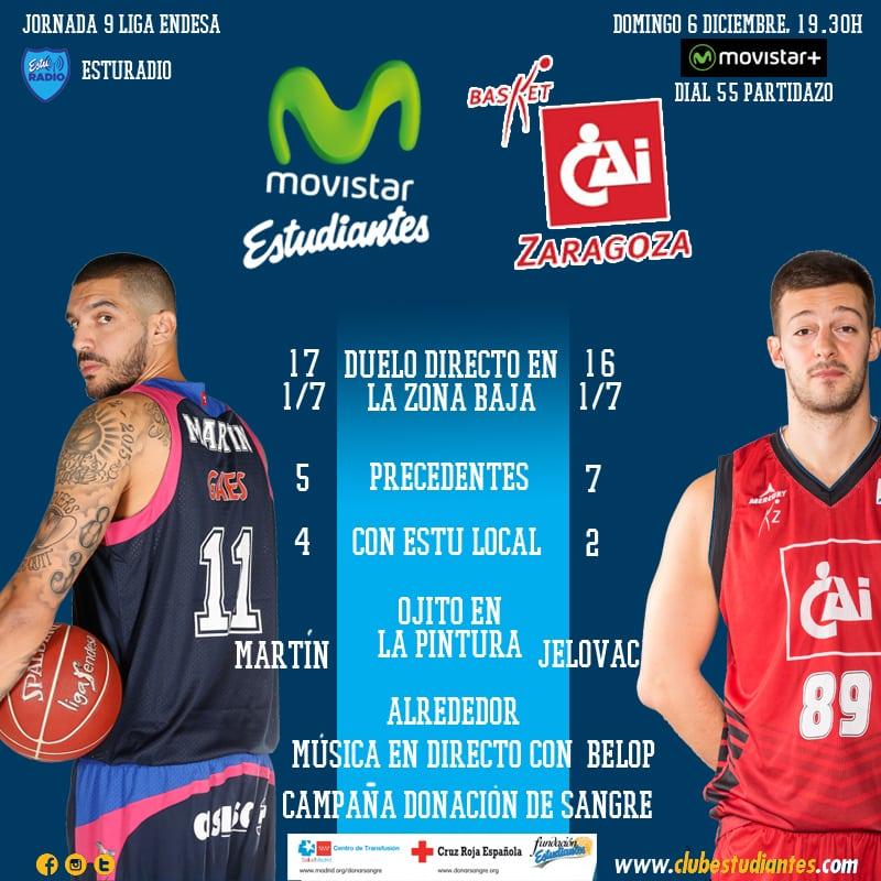 Movistar Estudiantes- CAI Zaragoza. Los mil detalles de la primera final de diciembre (domingo 6, 19:30h Movistar +)