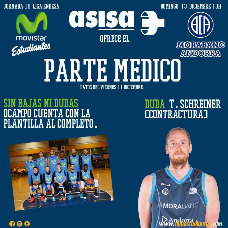 Asisa nos ofrece el parte médico del Movistar Estudiantes- Morabanc Andorra
