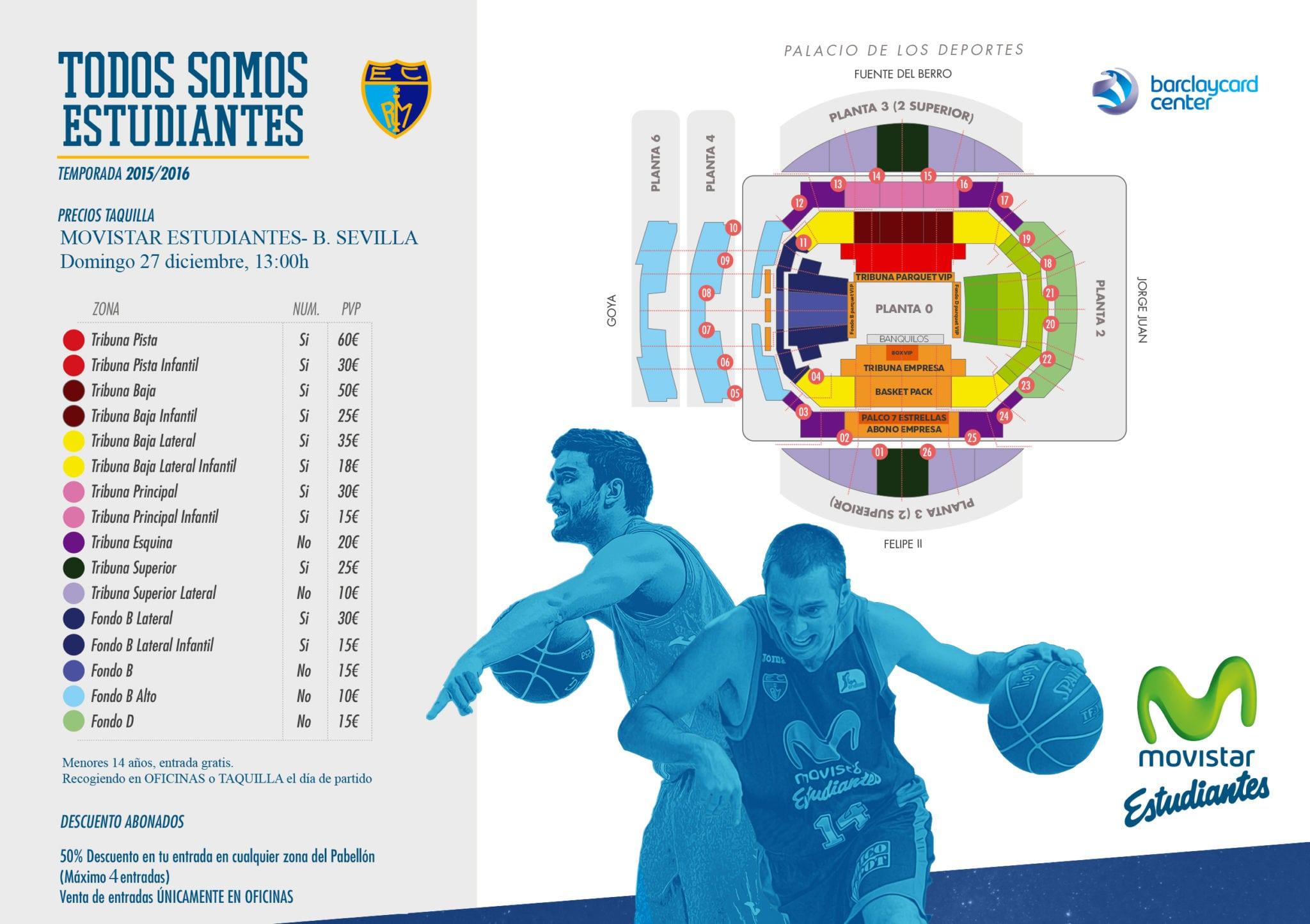 Entradas vs Baloncesto Sevilla: 50% abonados. Menores de 14 años gratis con motivo de la fiesta infantil