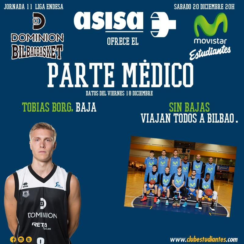 Asisa nos ofrece el parte médico del Dominion Bilbao Basket- Movistar Estudiantes
