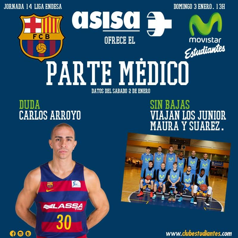 Asisa nos ofrece el parte médico del FC Barcelona Lassa-  Movistar Estudiantes