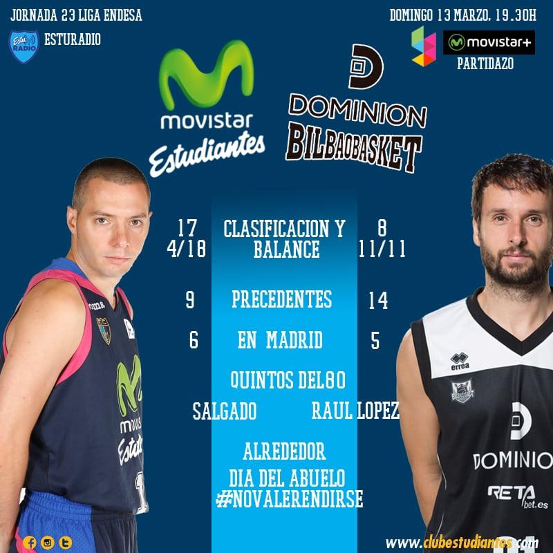 Movistar Estudiantes – Dominion Bilbao Basket: a repetir en casa (domingo, 19:30h, Movistar + y EstuRadio)
