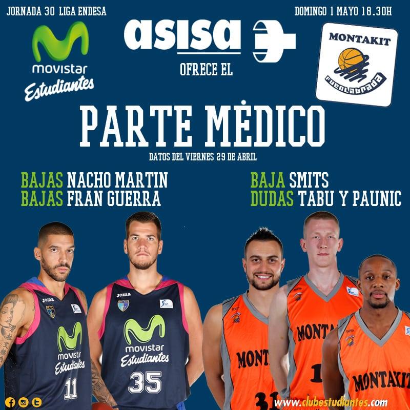 Asisa ofrece el parte médico del Movistar Estudiantes- Montakit Fuenlabrada: Nacho Martín, Fran Guerra y Rolands Smits, bajas.