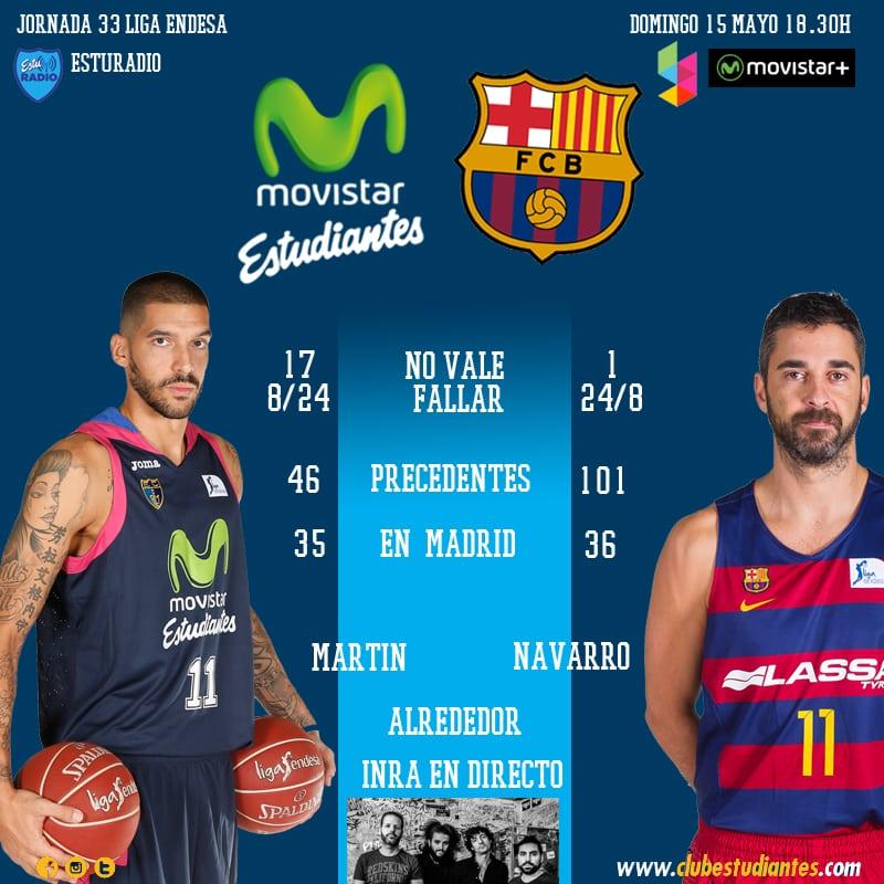 Movistar Estudiantes- FC Barcelona Lassa (domingo 18:30h Movistar Plus, Yomvi y EstuRadio): buscando la utopía un 15 de mayo