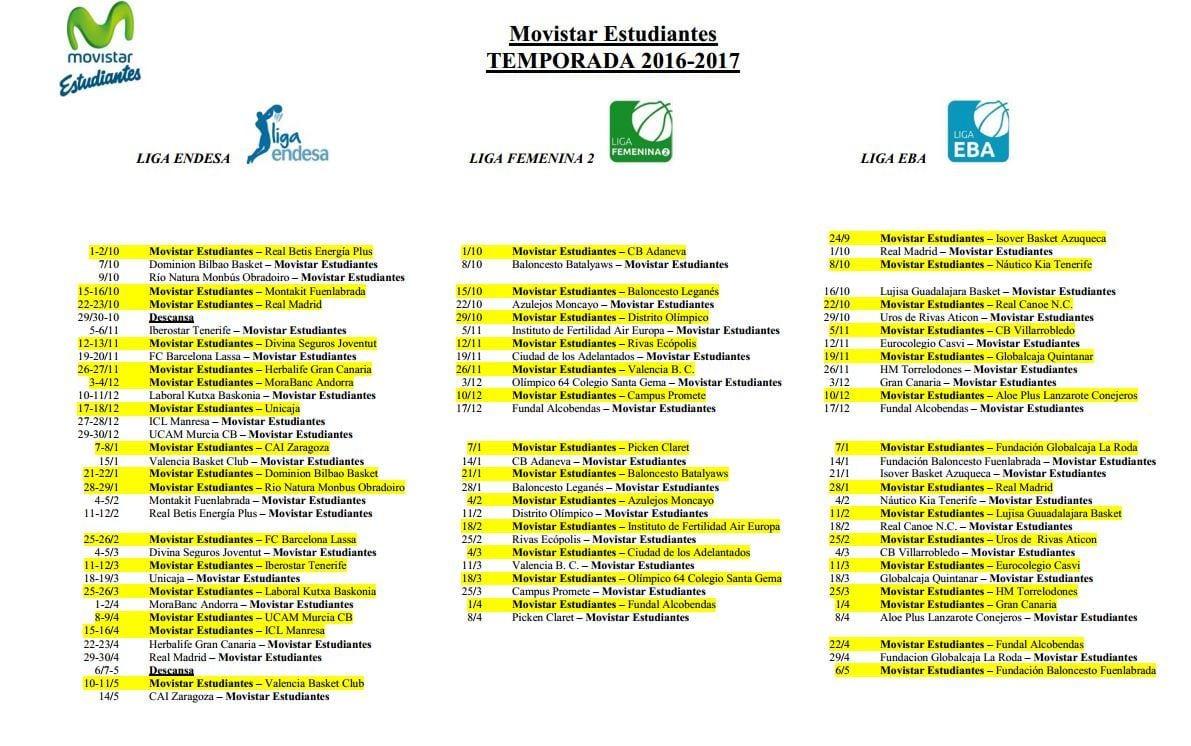 El calendario de Liga Endesa, Liga Femenina 2 y Liga EBA 2016-17, en un único documento descargable