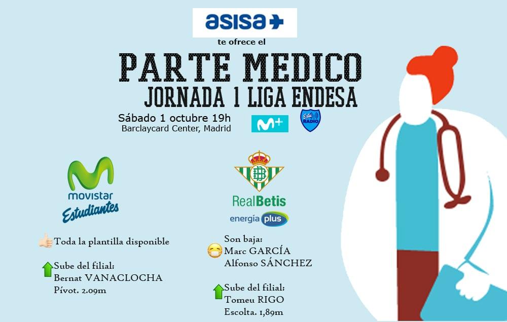 Asisa ofrece el parte médico del Movistar Estudiantes- Real Betis Energía Plus: Salva contará con todos