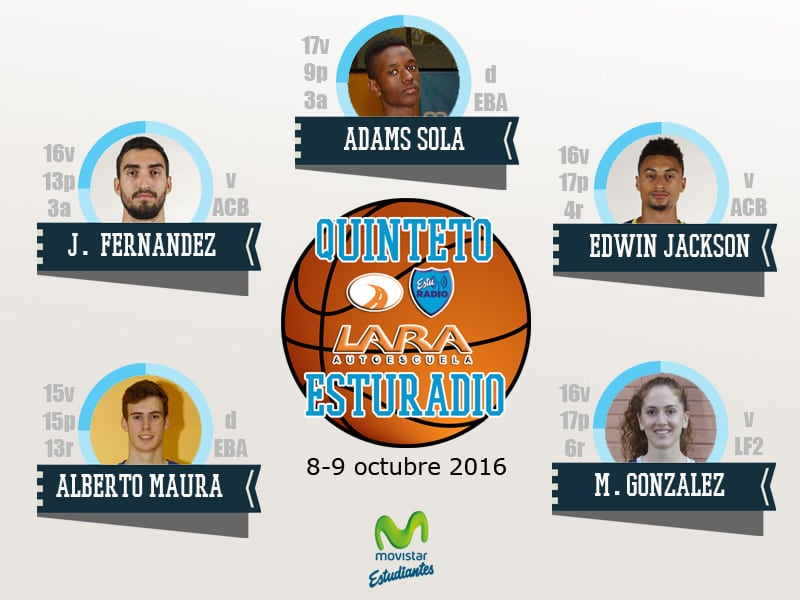 Primer Quinteto EstuRadio Autoescuela Lara 16-17: Sola, Fernández, Jackson, Maura y González