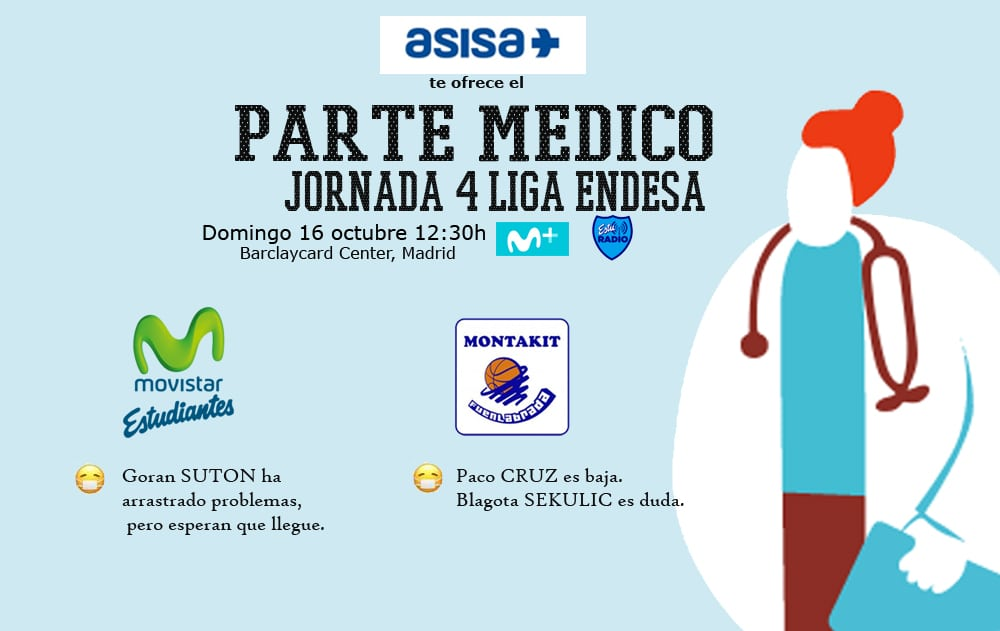 Asisa ofrece el parte médico del Movistar Estudiantes- Montakit Fuenlabrada