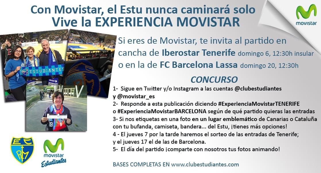 Vive la Experiencia Movistar en Tenerife o Barcelona. Si eres cliente Movistar , te invita a los partidos de fuera con nuestro concurso