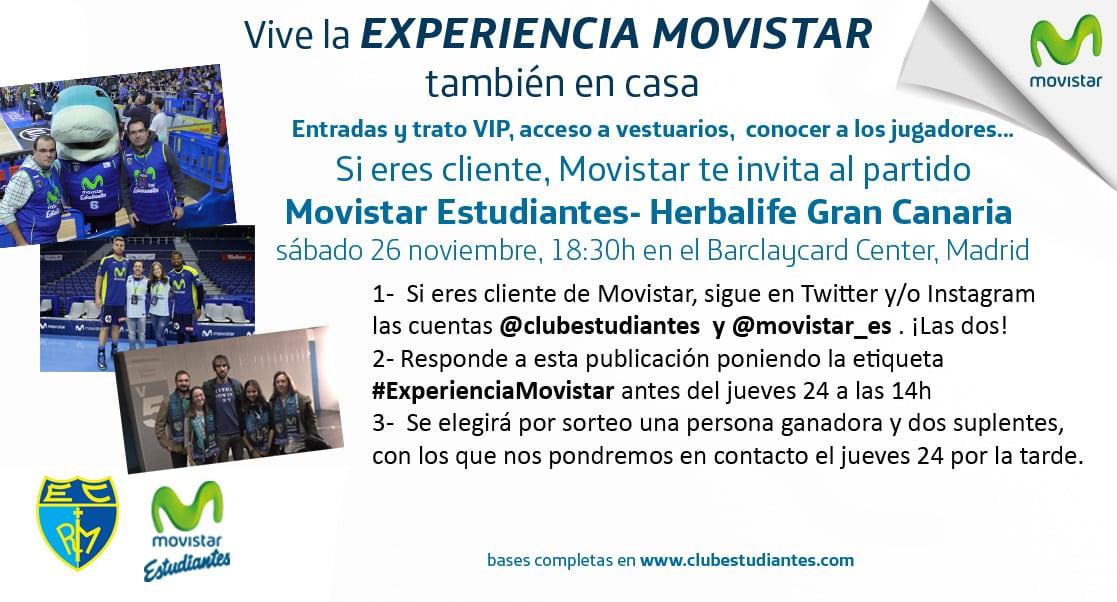 Si eres cliente Movistar… ¡vive el partido contra Granca como todo un VIP con la Experiencia Movistar! Participa en Twitter o Instagram