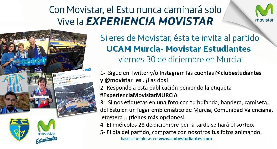 Si eres de Movistar, cierra 2016 animando al Estu en Murcia con la Experiencia Movistar